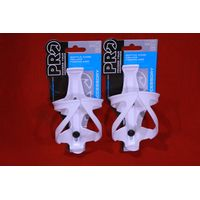 Shimano Pro Deluxe Bicycle Water Bottle Cages - White - Pair - NEW